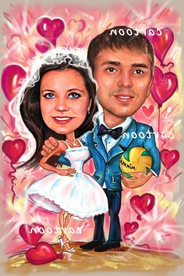 Свадебный шарж с оригинальным сюжетом в Тольятти!