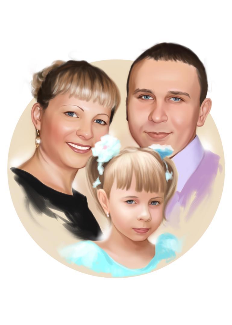 Семейный портрет по фото на холсте в Тольятти — правильный подарок!